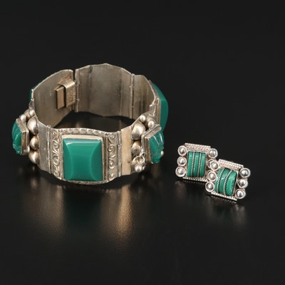 Mexican Sterling Panel Bracelet and Screw Back Earring Set