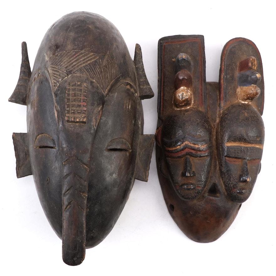 Senufo Inspired Carved Wood Masks, West Africa
