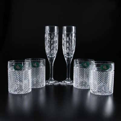 "Ralph Lauren ""Herringbone"" Crystal Old Fashioned Glasses and ""Aston"" Flutes"