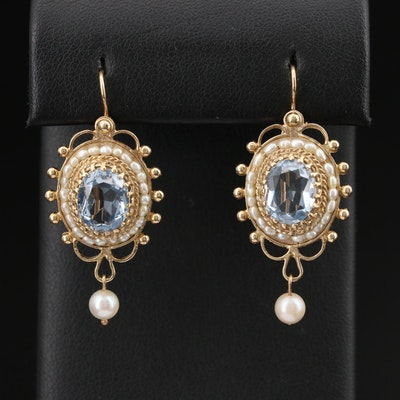 14K Topaz and Pearl Drop Earrings