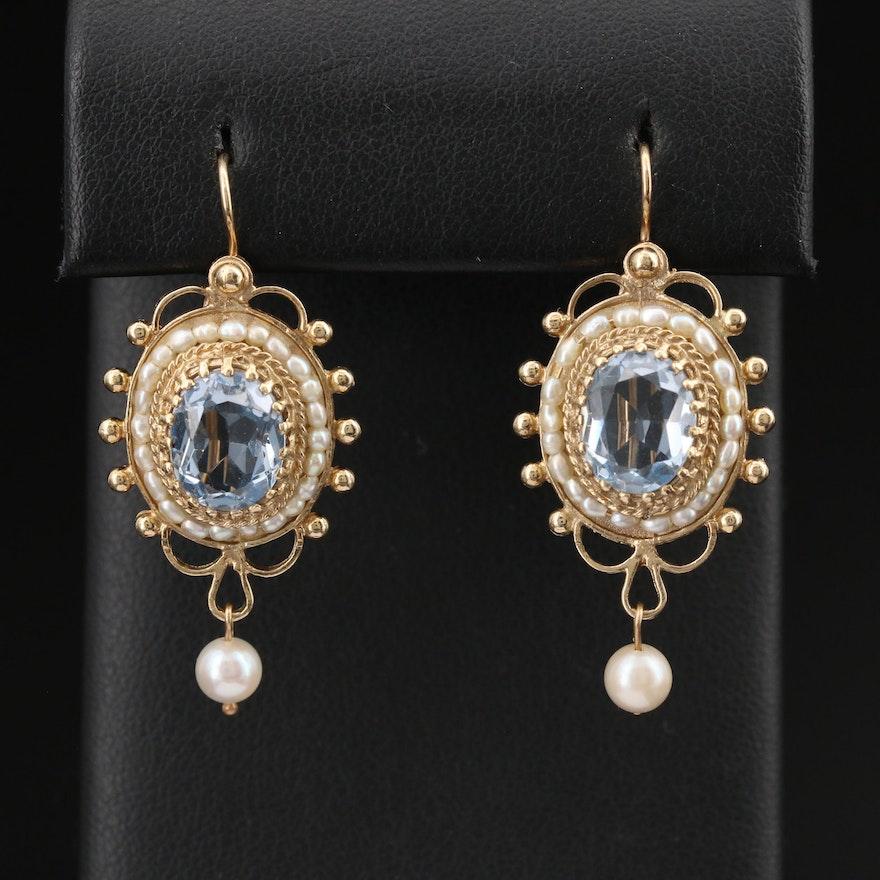 14K Topaz and Pearl Drop Earrings