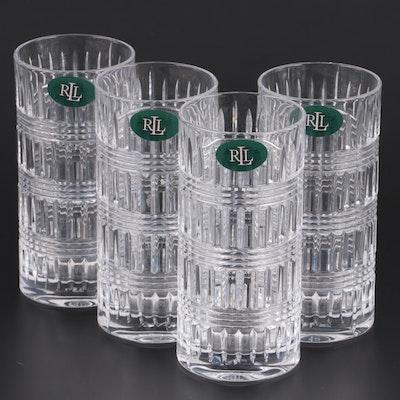 """Ralph Lauren """"Glen Plaid"""" Crystal Highball Glasses, 1990s"""