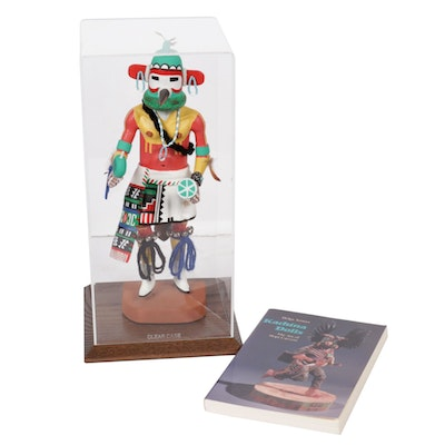 "Henry Shelton Hopi Kachina Doll in Display Case with ""Kachina Dolls"" Book"