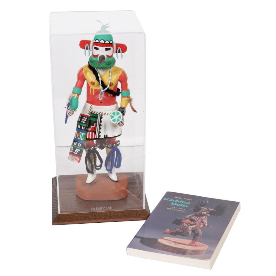 "Henry Shelton Hopi Kachina Doll in Display Case with ""Kachina Dolls"" Book"