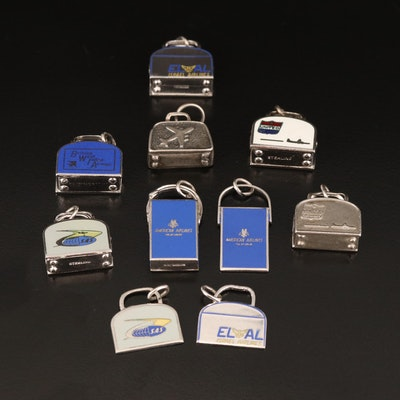 Vintage Enamel Sterling and 900 Silver Airways Charms