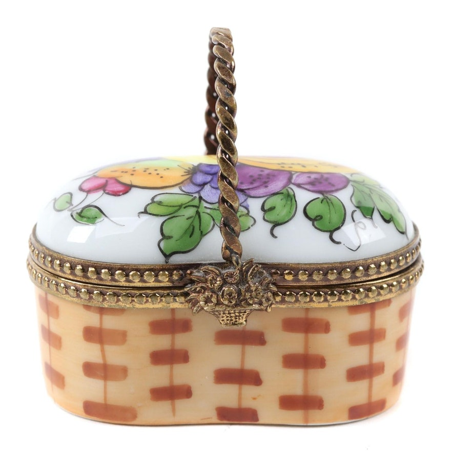 French Accents Fruit Basket Porcelain Limoges Box
