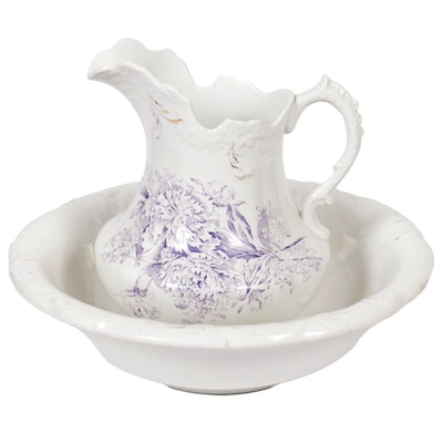 """Ford China Co. """"Victor"""" Ceramic Pitcher and Washbasin, Late 19th/ Early 20th C."""