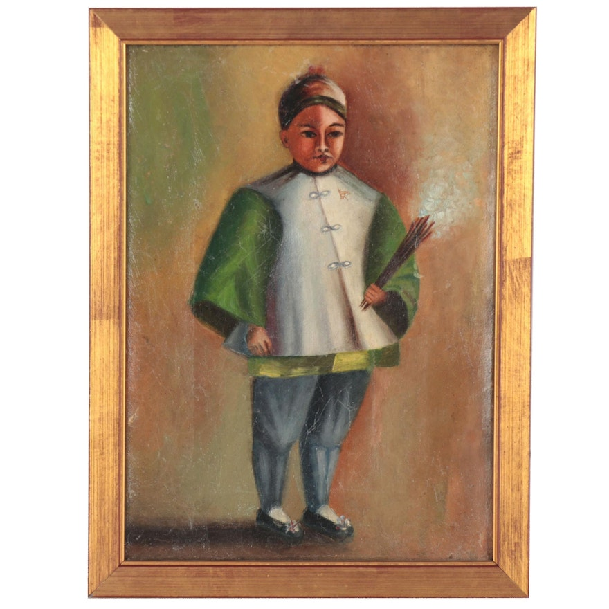 Oil Painting of Chinese Boy Burning Incense Sticks
