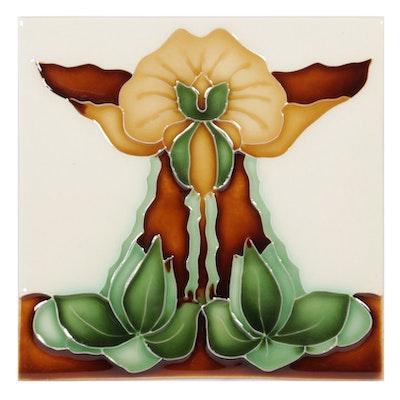 Porteous Art Nouveau Style Enameled Ceramic Style Tile, Contemporary