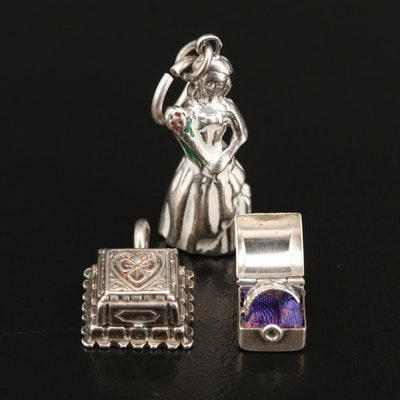 Sterling Silver Enamel and Rhinestone Ring Box and Beauty Pageant Charms