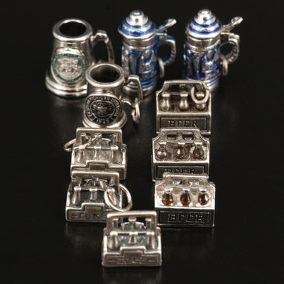 Beverage and Beer Stein Charms Including Sterling Silver
