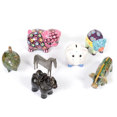 Century and Other Ceramic Piggy Banks with Animal Figurines