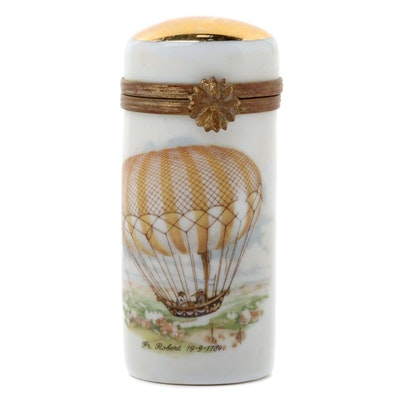 Artoria Hot Hair Balloon Motif Porcelain Limoges Box