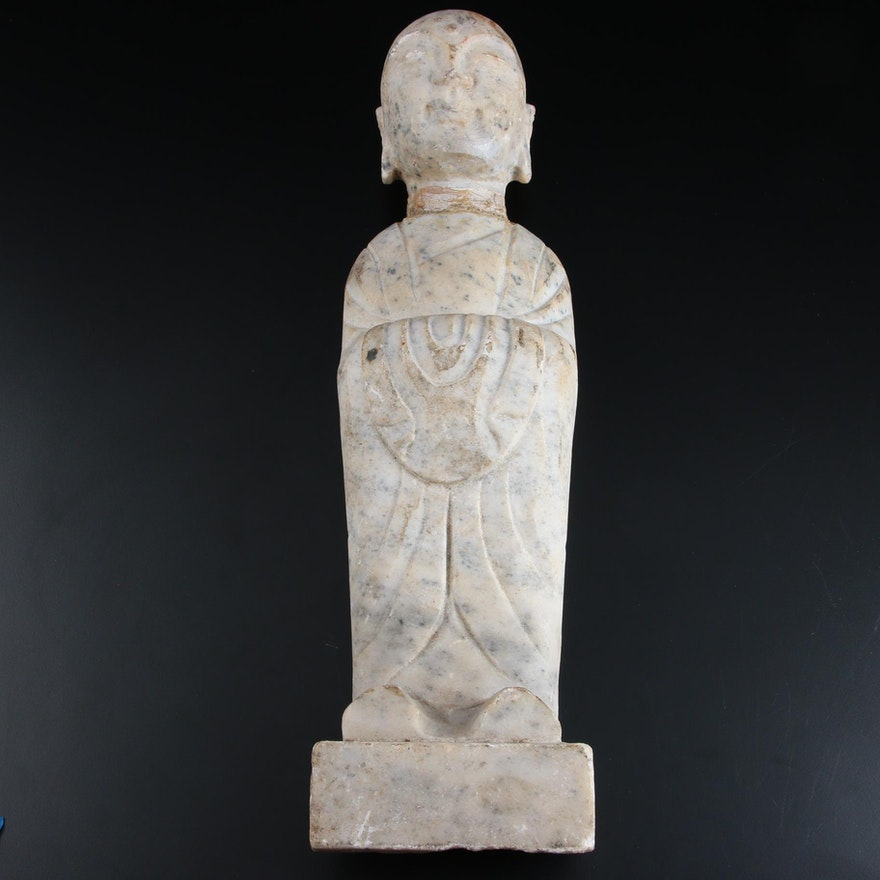 Carved Marble Chinese Buddhist Monk Garden Patio Statue
