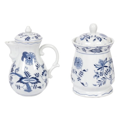 Blue Danube Ceramic Coffee and Jar, Mid to Late 20th Century