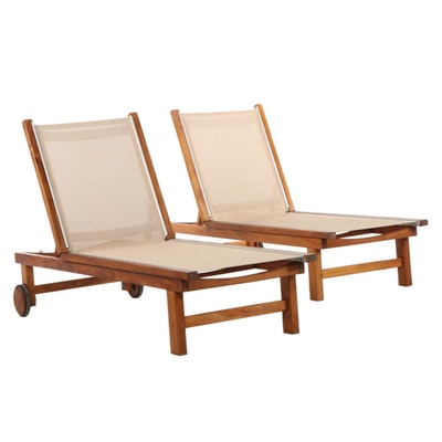 "Kingsley Bate ""St. Tropez"" Contemporary Teak Patio Chaise Lounges"