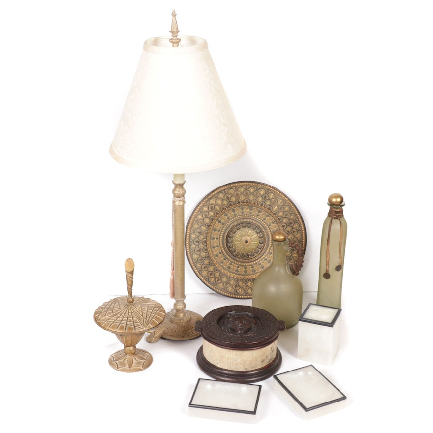 Neoclassical Style Table Lamp, Italian Alabaster Boxes, Other Decorative Objects