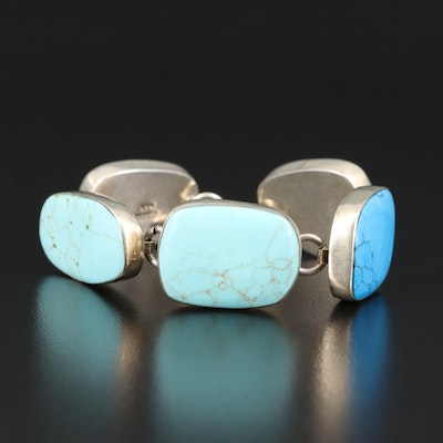 Mexican Sterling Faux Turquoise Toggle Bracelet