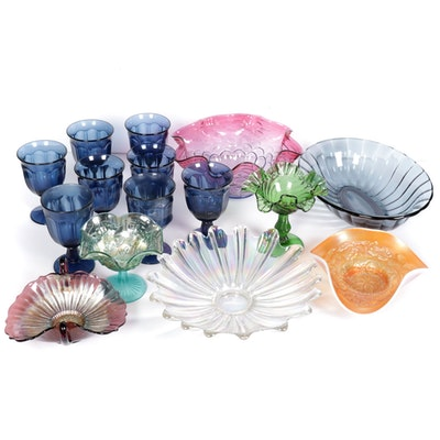 Fenton and Other Colored Glass Serving Bowls and Goblets, 20th Century
