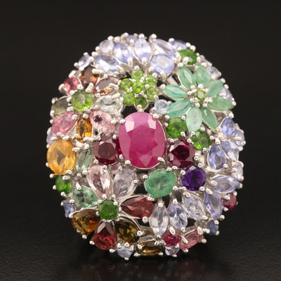 Sterling Gemstone Cluster Ring with Corundum, Beryl, and Tourmaline