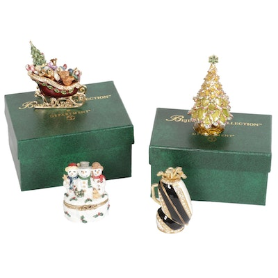 Department 56 Christmas and Golf Themed Boxes, Late 20th to 21st Century
