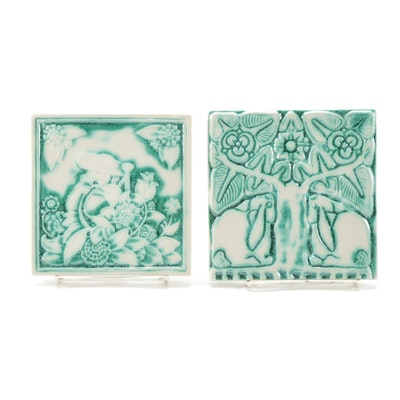 "Rookwood Pottery ""Flower Garden"" and ""Grove Bunny"" Ceramic Tile Trivets, 2000"