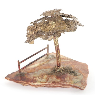 Mixed Media Sculpture of Lone Tree, Late 20th Century