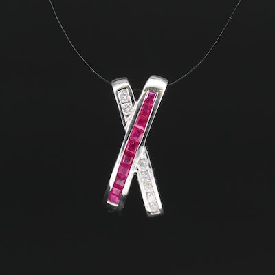 "14K Ruby and Diamond ""X"" Slide Pendant"