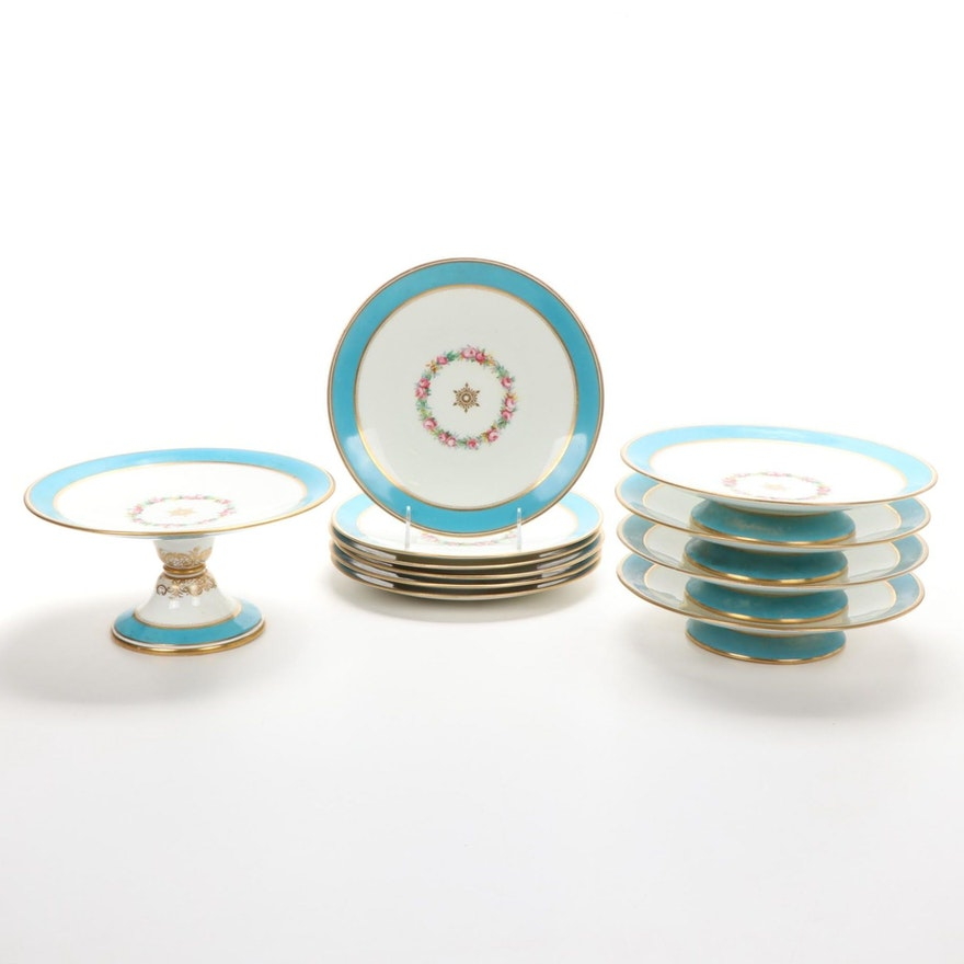 English Brownfield & Sons Gilt Porcelain Dessert Service, Late 19th Century