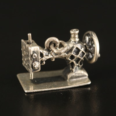 Vintage Articulated Sewing Machine Charm in Sterling