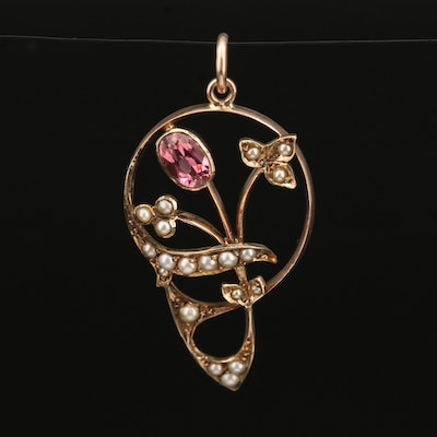 Art Nouveau 9K Tourmaline and Seed Pearl Flower Pendant