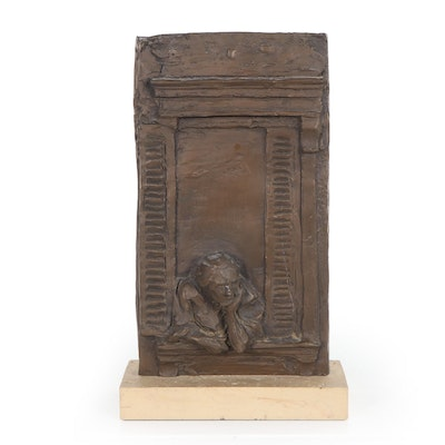 Bronze Relief Sculpture of Figure Looking out a Window, Late 20th Century