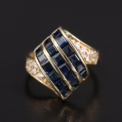 14K Sapphire and Diamond Ribbon Ring