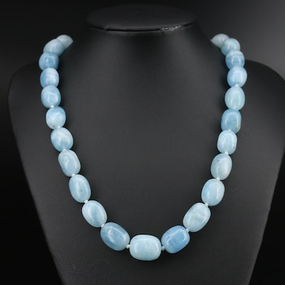 Knotted Beryl Beaded Necklace with Sterling Clasp