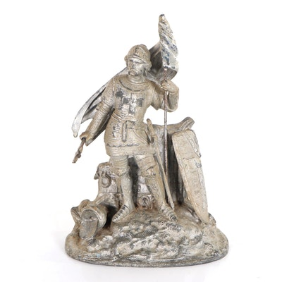 Figurative Pewter Sculpture of Knight with Flag, Mid-Late 20th Century