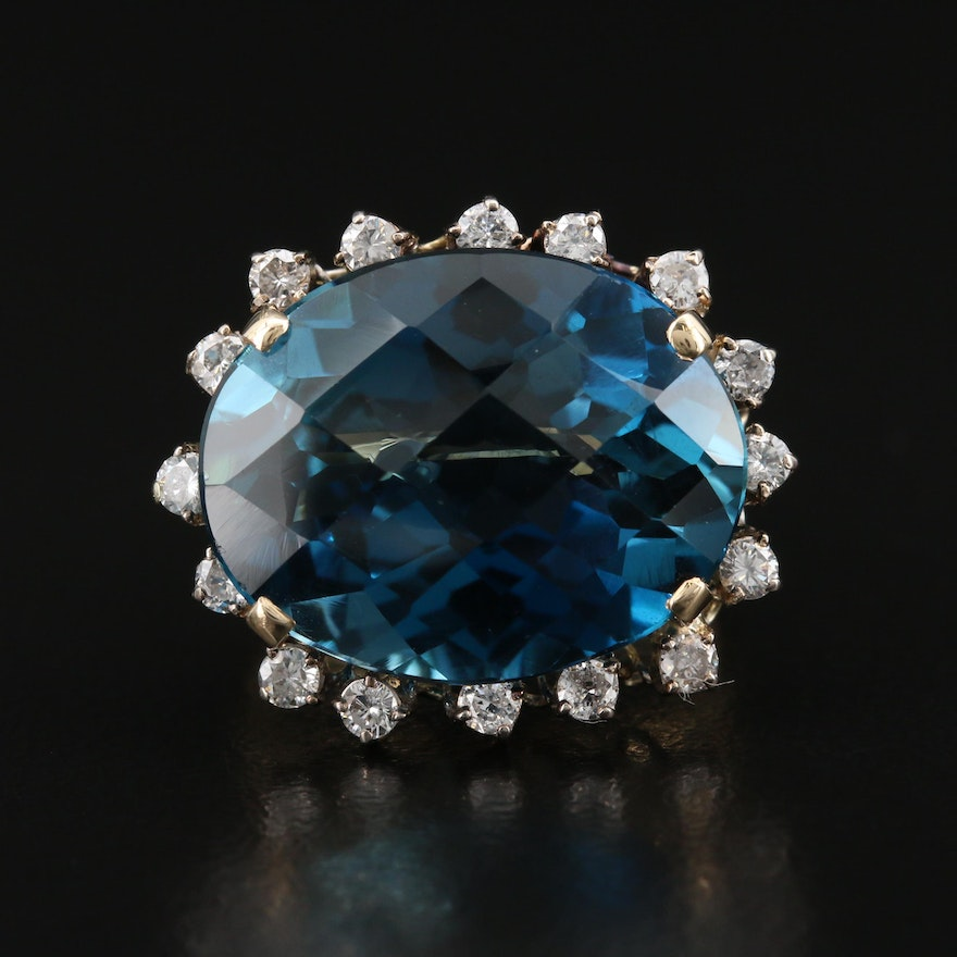 14K 22.25 CT London Blue Topaz and Diamond Ring