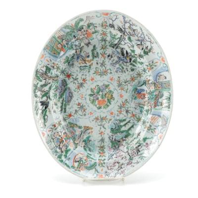 Chinese Famille Verte Porcelain Oval Platter