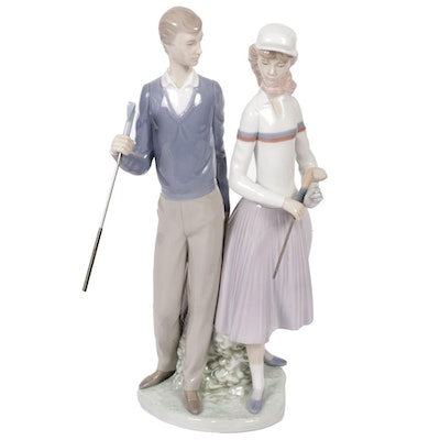 "Lladró ""Golfing Couple"" Porcelain Figurine Designed by José Puche"