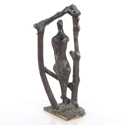 Abstract Bronze Sculpture of Figure and Archway
