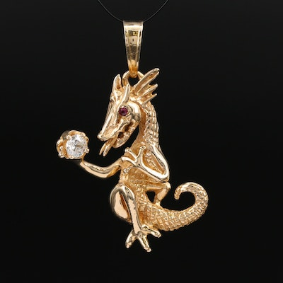 14K Diamond and Ruby Dragon Pendant
