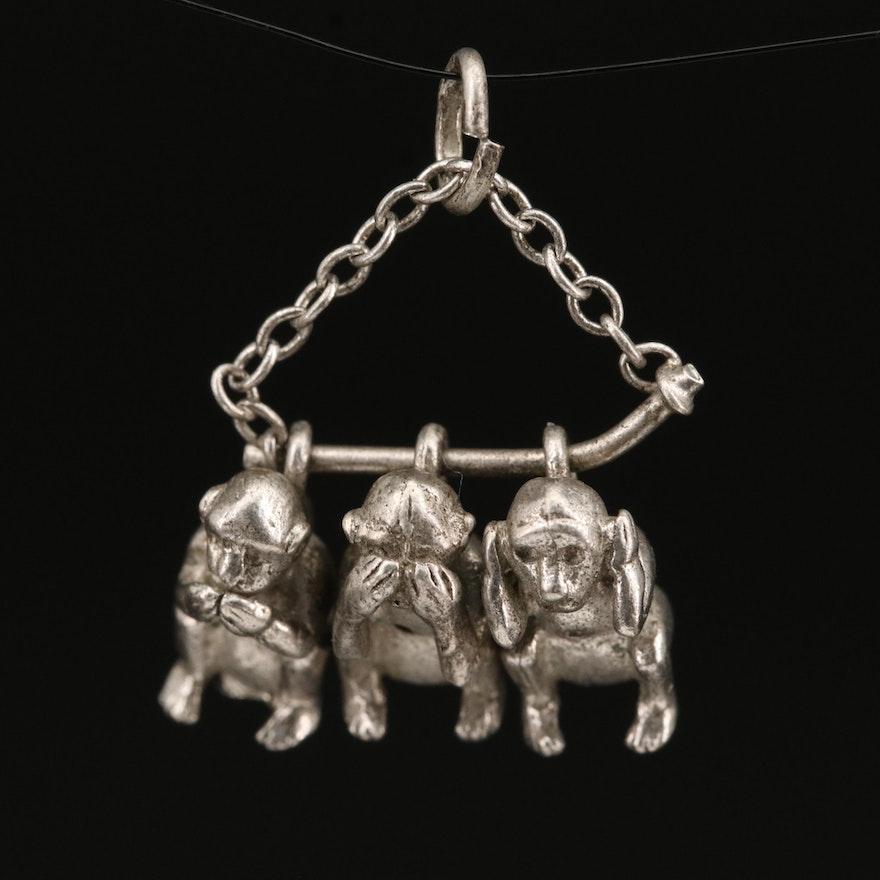 "Sterling ""Three Wise Monkeys"" Charm"