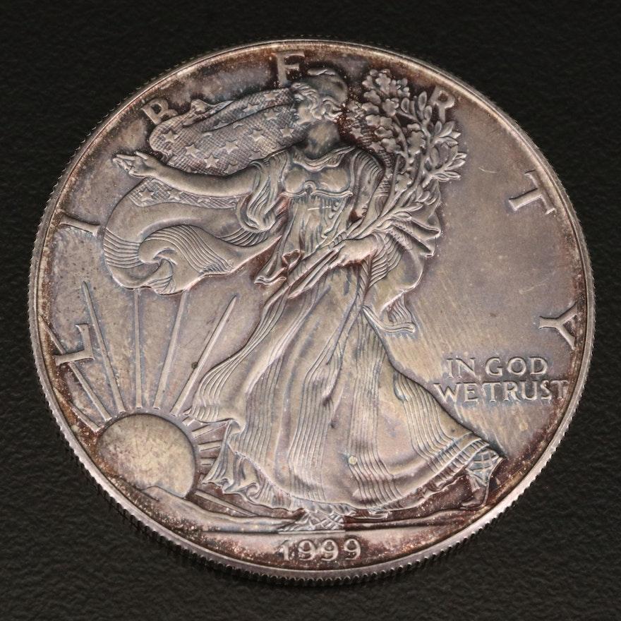 Toned 1999 $1 American Silver Eagle Bullion Coin
