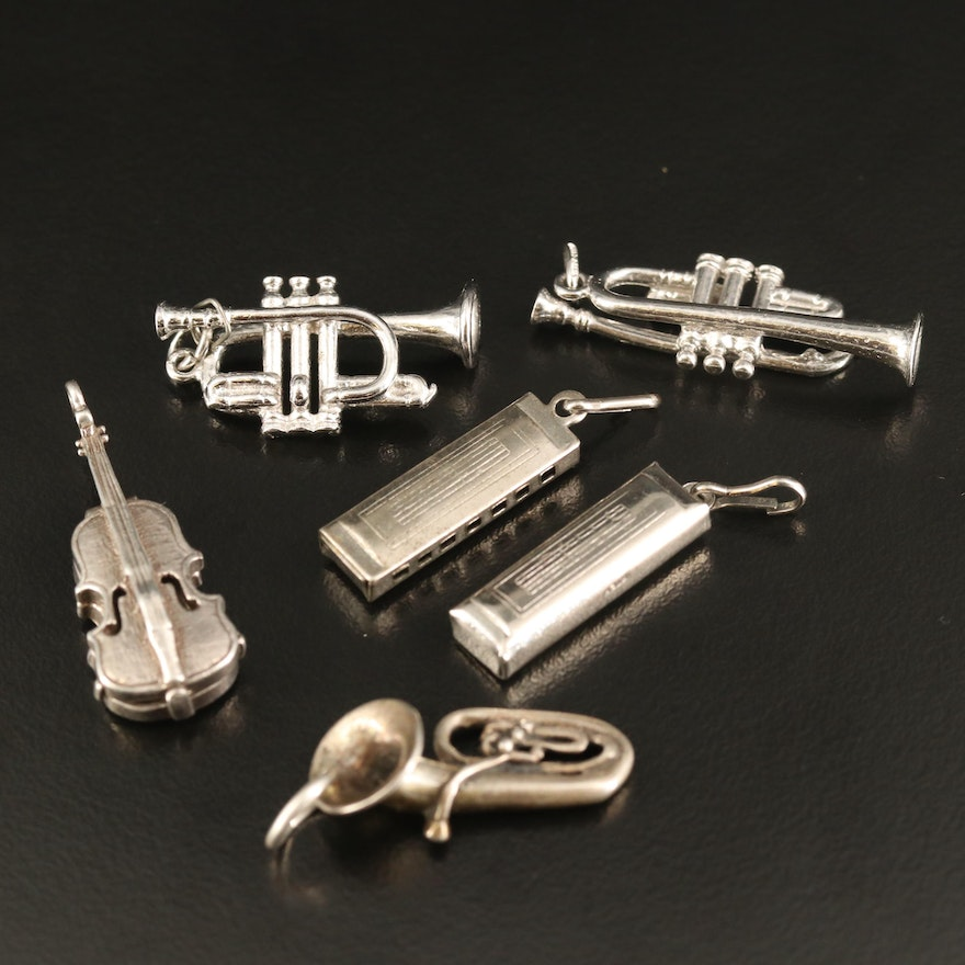 Sterling Musical Instrument Charm Selection