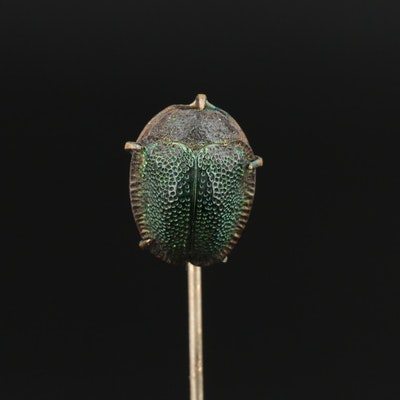 Victorian Egyptian Revival Scarab Beetle Carapace Stick Pin