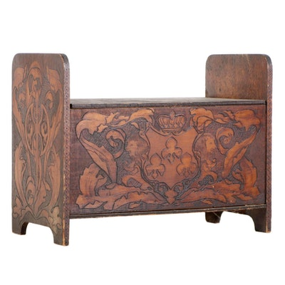 Pyrography-Decorated Storage Bench, Early 20th Century