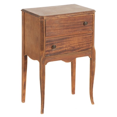 French Provincial Style Wood Sewing Stand with Thread Drawer, 20th Century