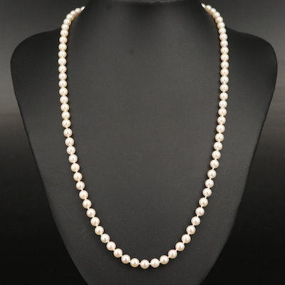 Pearl Necklace with 14K Clasp and Vintage Box