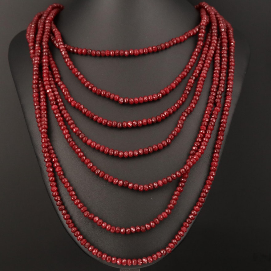 Graduated Multi Strand Quartzite Necklace