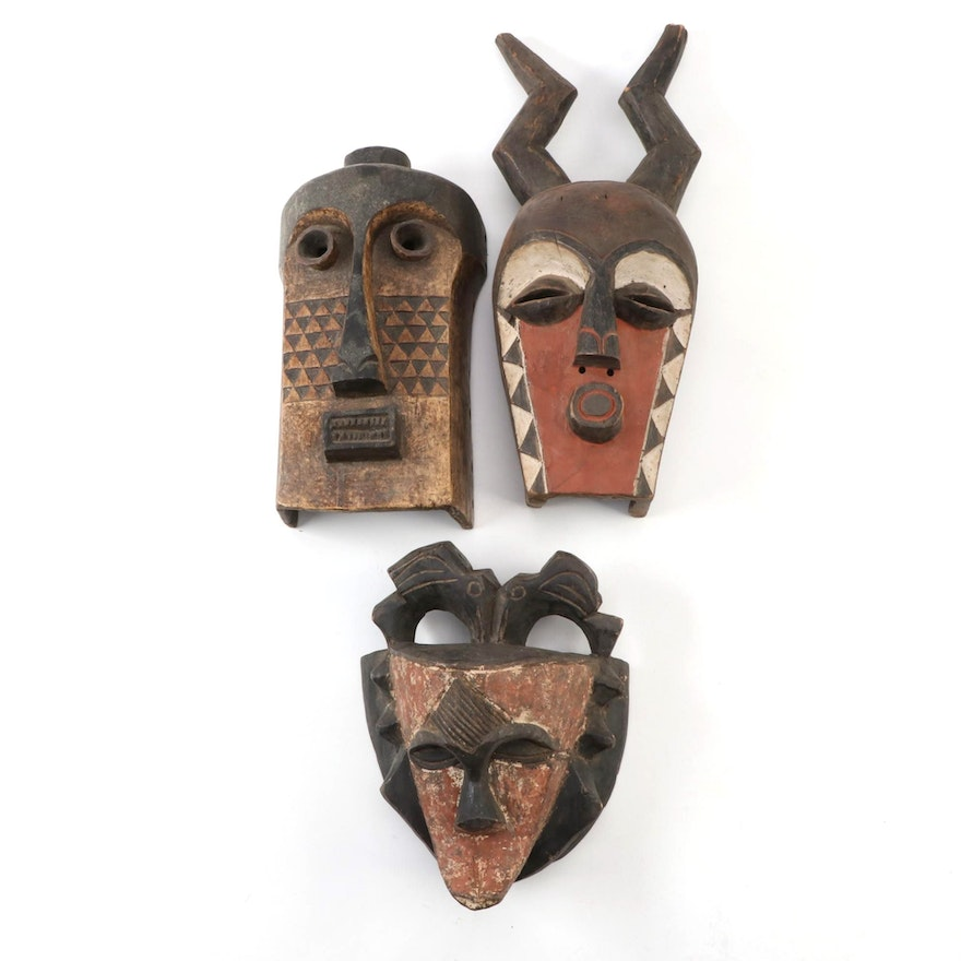 Central and West African Style Wood Masks