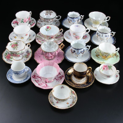 Straffordshire, Haviland, Spode, and Other Bone China Teacups and Saucers